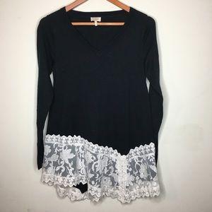 LOGO Lavish Sz XXS Cashmere Sweater Embroidered